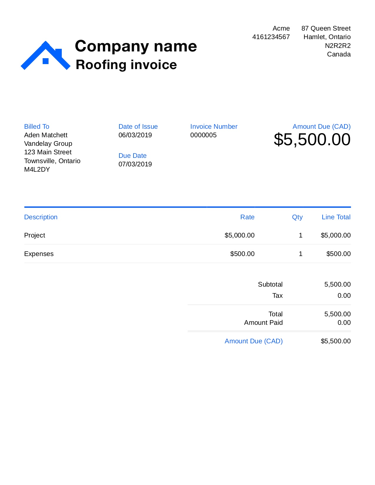Roofing Invoice Template Free from www.digital-invoice-template.com