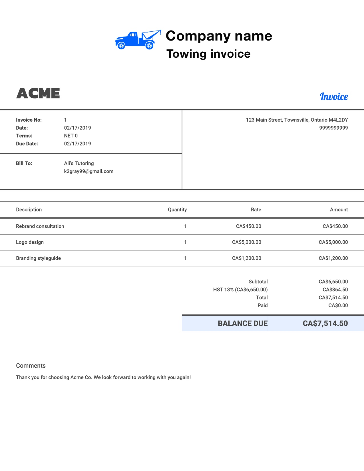 Free Towing Invoice Template Customize And Send In 90 Seconds