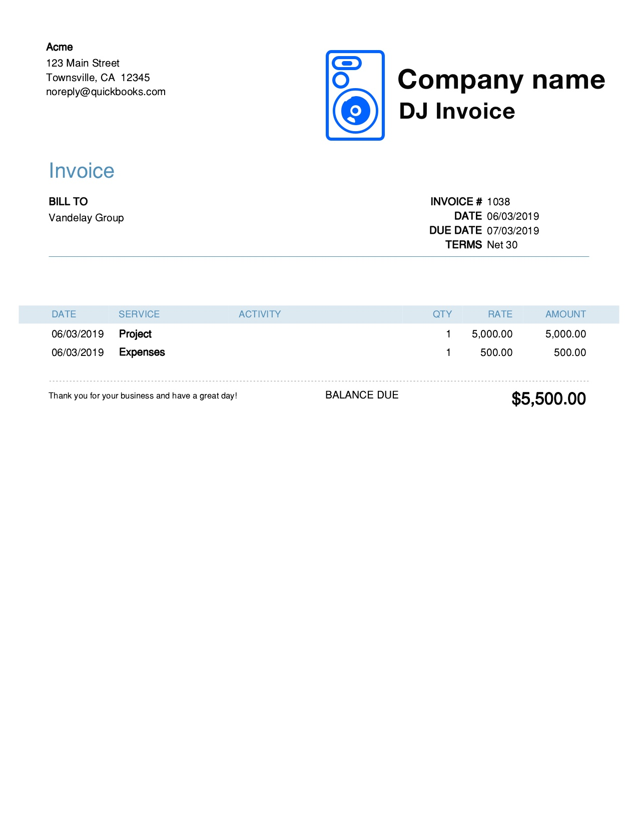 Free Dj Invoice Template Customize And Send In 90 Seconds