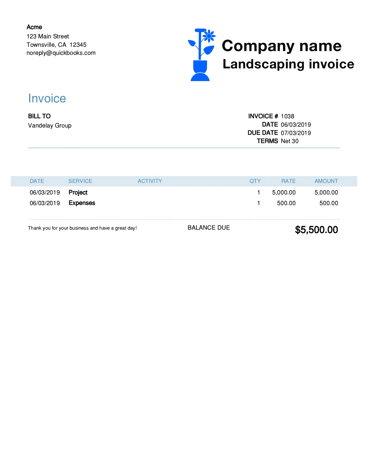 Free Landscaping Invoice Template Customize And Send In 90 Seconds